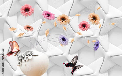 3D wallpaper design with brick and flowers for photomural Wallpaper Mural