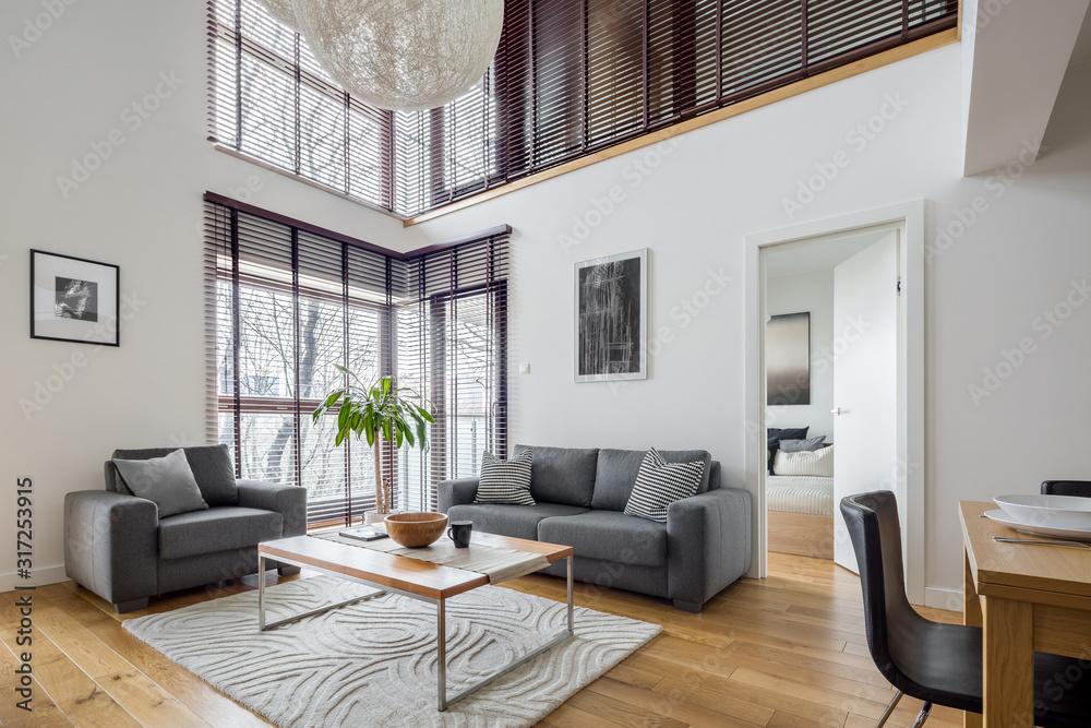 Fototapeta Living room with many windows