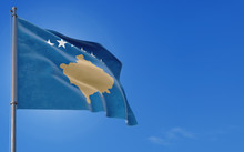 Kosovo Flag Waving In The Wind...