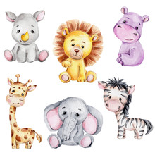 Set With Cute Cartoon Giraffe,...