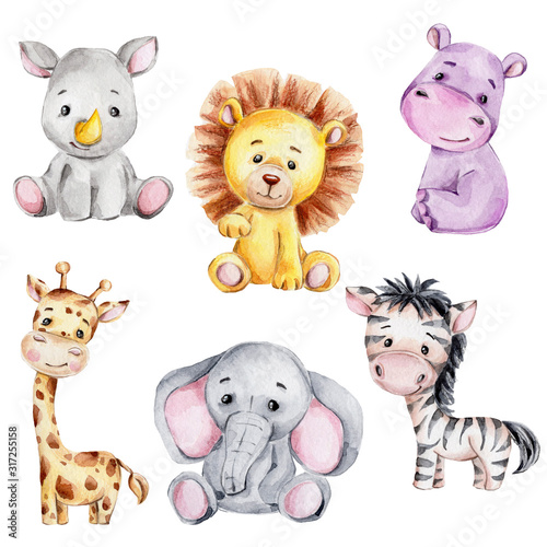 Set with cute cartoon giraffe, zebra, rhinoceros, elephant, hippopotamus and lion; watercolor hand draw illustration; with white isolated background