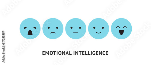 Fotomural Emotion faces, ranking scale blue smiles vector illustration