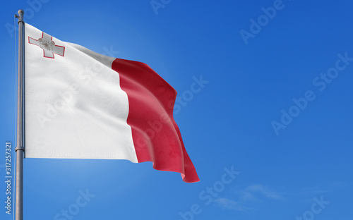 Photo Malta flag waving in the wind against deep blue sky