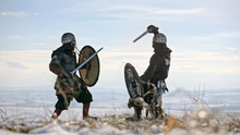 Two Warriors Viking Are Fighti...