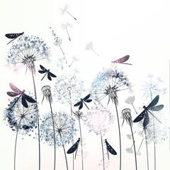 Fototapeta Optyczne powiększenie Elegant vector illustration with dandelions and dragonflies