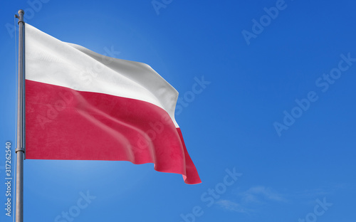 Photo Poland flag waving in the wind against deep blue sky