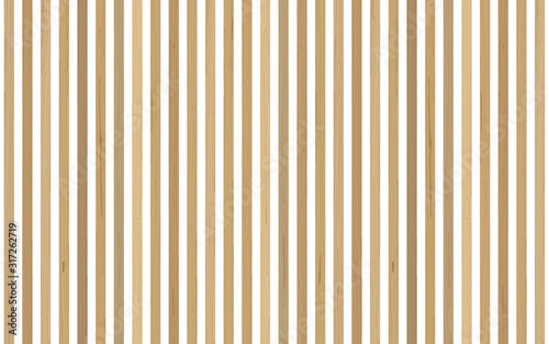 Accent wall in interior. Vertical wooden planks on a white backdrop. Vector natural background