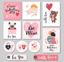 Valentine Day Gift Tags With Cute Cupid, Couple And Hearts. Vector Illustration.