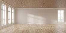 Mock-up Of White Empty Room And Wood Laminate Floor With Sun Light Cast The Shadow On The Wall,Perspective Of Minimal Inteior Design On Nature Background. 3D Rendering.
