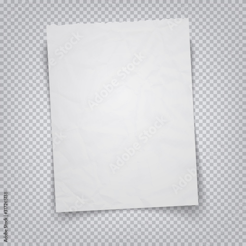 Obraz White sheet of paper on a transparent background. Vector illustration realistic A4 sheet with tear-off place - fototapety do salonu