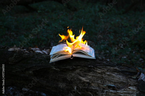 Burning book on fire outdoors Fototapet