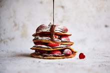 Close Up Of Chocolate And Strawberry Pancake