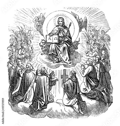 Stampa su Tela Antique vintage biblical religious engraving or drawing of Jesus Christ sitting as king on throne in heaven surrounded by apostles and believers