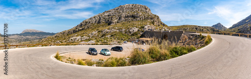 Mirador Coll dels Reis, a winding mountain road leading to the village of Sa Calobra. Mallorca, Spain