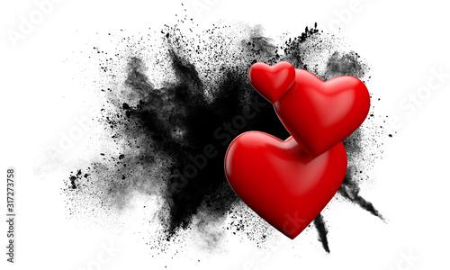 Fotografie, Tablou Red love heart against a grunge powder explosion. 3D Rendering