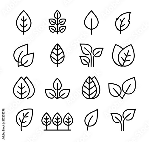 Fototapety, obrazy: set black icons leaves, branches and trees