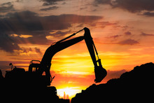 Silhouette Of Excavator Loade...
