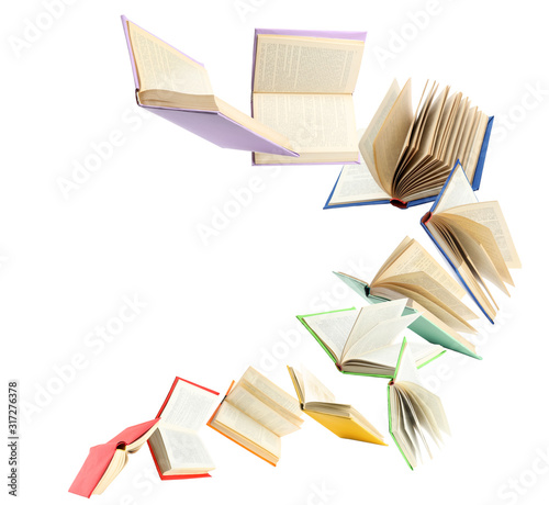 Colorful hardcover books flying on white background Tableau sur Toile