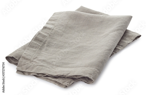 Fototapeta Folded light grey cotton napkin isoin obraz