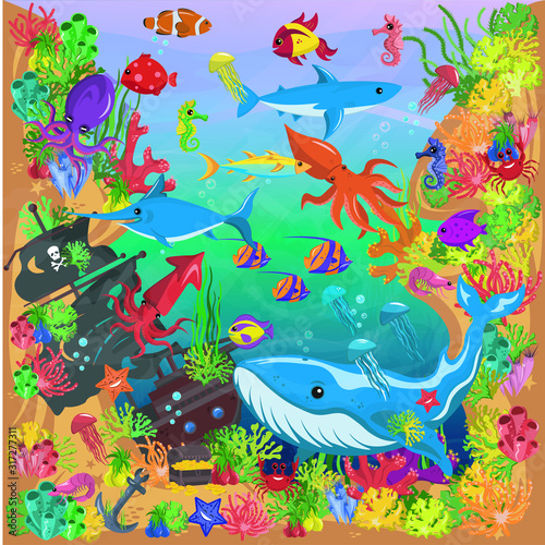 Photo Underwater world, vector art and illustration