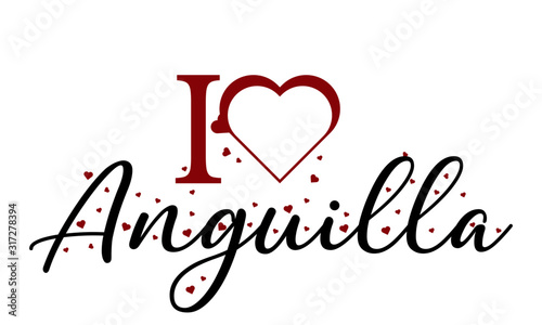 I love Anguilla Vector Background Image Wallpaper Mural