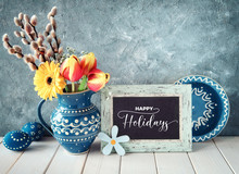 Spring Flowers In Classic Blue...