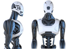 Robot Android Isolated On White