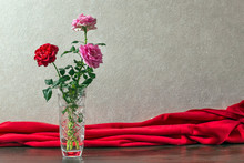 Red And Pink Roses In The Crys...