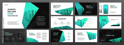 Fototapeta Modern powerpoint presentation templates pack for business and construction with cityscape vector illustration on background. Brochure design, annual report, social media banner, leaflet. obraz