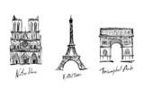 Fototapeta Fototapety Paryż - Sights of France: Eiffel Tower, Notre Dame, Arc de Triomphe.