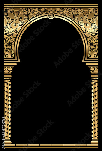 Cover postcard golden oriental vintage arch frame Wallpaper Mural