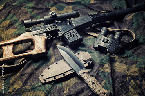 Military accessories, survival kit, military campaigns Wallpaper Mural