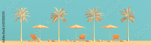 Obraz Travel concept background design with sea bed and umbrella. Mock up for travel concept design with copy space. 3D illustration. - fototapety do salonu