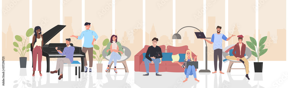 Fototapeta people discussing during meeting mix race men women using digital devices communication relaxation concept modern living room interior horizontal full length vector illustration