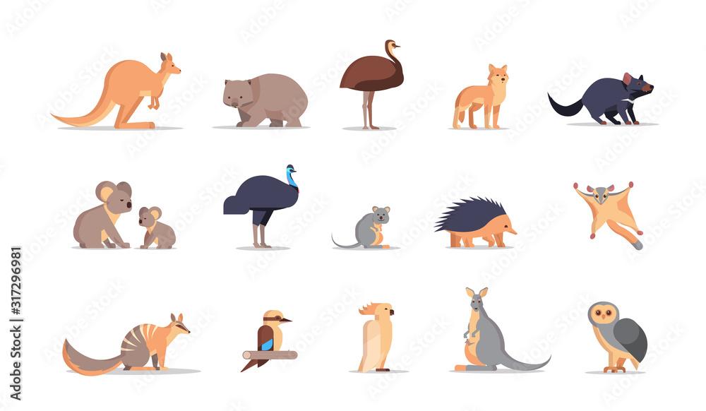 Fototapeta set cartoon endangered wild australian animals collection wildlife species fauna concept flat horizontal vector illustration