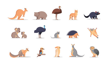 set cartoon endangered wild australian animals collection wildlife species fauna concept flat horizontal vector illustration