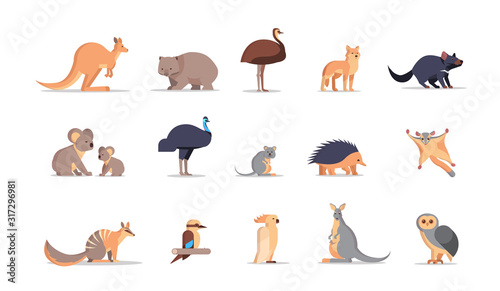 set cartoon endangered wild australian animals collection wildlife species fauna concept flat horizontal vector illustration