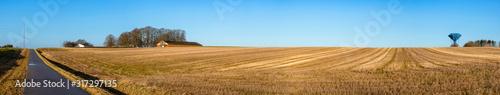 Fototapeta Rural panorama landscape with a dry field obraz