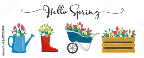 Obraz na plátně Hello spring cute card with blossoms and lettering vector illustration