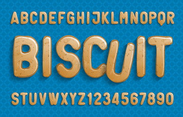 Biscuit alphabet font. Cartoon cookie letters and numbers. Stock vector illustration for your design.