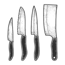 Knife Set Sketch Engraving Vec...