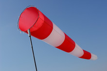 Red And White Windsock On Sky ...