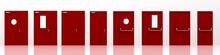 Red Fire Doors, 3d Rendering, ...