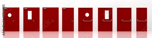 Photo Red fire doors, 3d rendering, 3d illustration