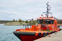 Stockholm, Sweden - November 3, 2018: Coastal Safety, Salvage And Rescue Boat.