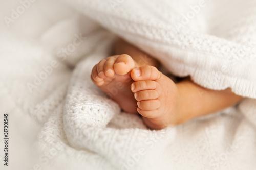 Newborn baby feet under the white blanket, closup of  infant barefeet Fototapeta