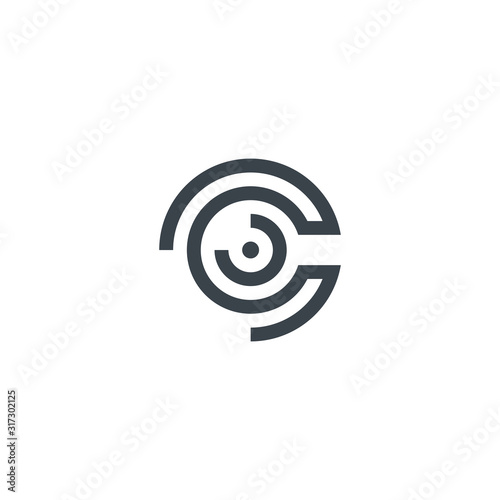 Fototapeta Abstract Letter C line art icon simple clean logo design isolated on white backg