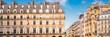 canvas print picture Paris, typical facade and windows, beautiful building rue de Rivoli