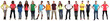 canvas print picture - Group of young people collection smiling happy multicultural multi ethnic full body standing in a row