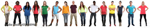 Fototapeta Group of young people collection smiling happy multicultural multi ethnic full body standing in a row obraz